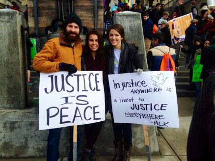 JV AmeriCorps members participating in the MLK Day March in Boise, ID.